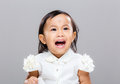 Girl want to scream with gray background Stock Images