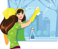 Girl wash window color illustration of a who Royalty Free Stock Photos