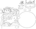 A girl washes a bathtub Coloring for kids Royalty Free Stock Photo