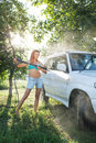 Girl washing car Royalty Free Stock Photo