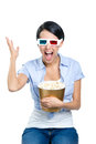 Girl watching d cinema with popcorn in glasses bowl full of isolated on white Royalty Free Stock Photos