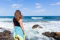 Girl Watching Ocean Waves Royalty Free Stock Photo