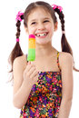 Girl with water ice cream Stock Images