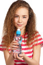 Girl with water portrait of happy from plastic bottle isolated on white background Stock Photo
