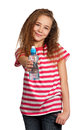 Girl with water portrait of happy from plastic bottle isolated on white background Stock Photos