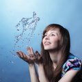 Girl with water splash Royalty Free Stock Image
