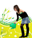 Girl watering a plant Stock Image
