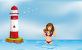 A girl wearing a bikini at the beach beside a tower illustration of Stock Photos
