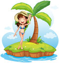 A girl wearing a bikini with a hat in front of a coconut tree illustration on white background Royalty Free Stock Images