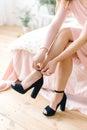 Girl wearing blue high heels Royalty Free Stock Photo