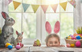 Girl wearing bunny ears Royalty Free Stock Photo