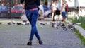 Girl wearing denim jeans Royalty Free Stock Photo
