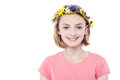 Girl wearing flowers crown attractive young Stock Photos