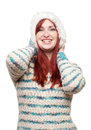 Girl wearing furry hat and pullover Stock Photo