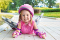 Girl wearing inline roller skates Royalty Free Stock Photos