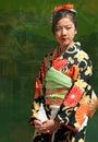 Girl Wearing Japanese Kimono Royalty Free Stock Photo