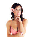 Girl wearing pink bra Royalty Free Stock Photo