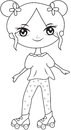 Girl wearing roller skate shoes coloring page