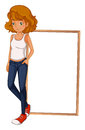 A girl wearing a sando and a tight jeans in front of an empty bo illustration board on white background Royalty Free Stock Image