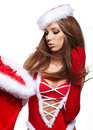 Girl wearing santa claus clothes Royalty Free Stock Photo