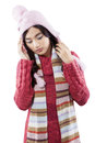 Girl wearing sweater and has headache Royalty Free Stock Photo