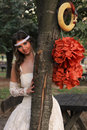 Girl in a wedding dress the park ada ciganlija belgrade serbia Stock Images