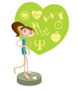 Girl on weighing machine conscious weight loss concept Royalty Free Stock Image