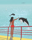 Girl welcomes dolphins Royalty Free Stock Image