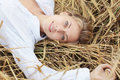 Girl in the wheat Stock Photos