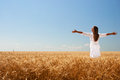 Girl on wheat field Royalty Free Stock Photo
