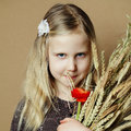 Girl with wheat and flowers thanksgiving day Stock Images