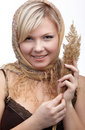 Girl with wheat spike Royalty Free Stock Photo