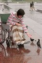 Girl on wheelchair feeds birds Royalty Free Stock Images