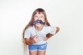 The girl with whiskers smtsya little laughs teeth Royalty Free Stock Photos