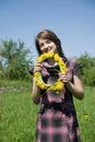 Girl whit chaplet Royalty Free Stock Photo