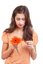 Girl whit flower Stock Image