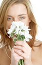 Girl with white chrysanthemum Stock Photo