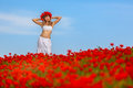 Girl in a white dress the poppy field Royalty Free Stock Photography