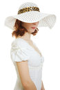 Girl in the white hat hiding his eyes Royalty Free Stock Photography