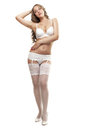 Girl in white lingerie sexy young Royalty Free Stock Image