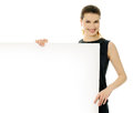 Girl with white placard cheerful empty Stock Image