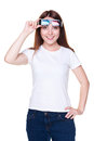 Girl in white t-shirt holding 3d glasses Royalty Free Stock Image