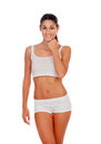 Girl in white underwear isolated on a background Royalty Free Stock Photo