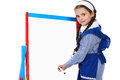 Girl and whiteboard Royalty Free Stock Images