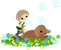 A girl who runs with a dog is running at flower garden Stock Images