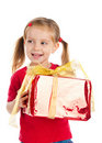 Girl wih the present Stock Photo