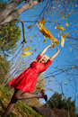 Girl wiht in autumn park Stock Photography