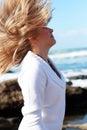 Girl, wind, hair Stock Photo