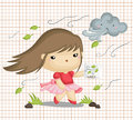 Girl in Windy Weather Royalty Free Stock Photo