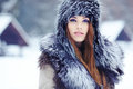 Girl on the winter background Royalty Free Stock Photography